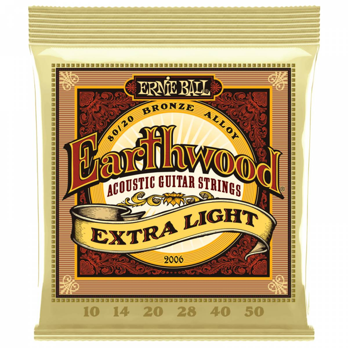 Encordoamento para Violão Ernie Ball 2006 0.10 Earthwood Ex Light